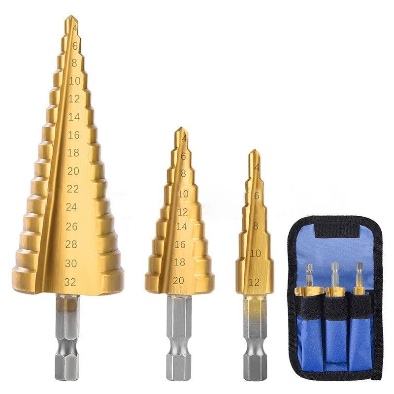 3Pcs/Set 4-12mm 4-20mm 4-32mm High Quality Titanium Drill Bit Drilling Tools Metal High Speed Steel Wood Hole Cutter Cone Drill