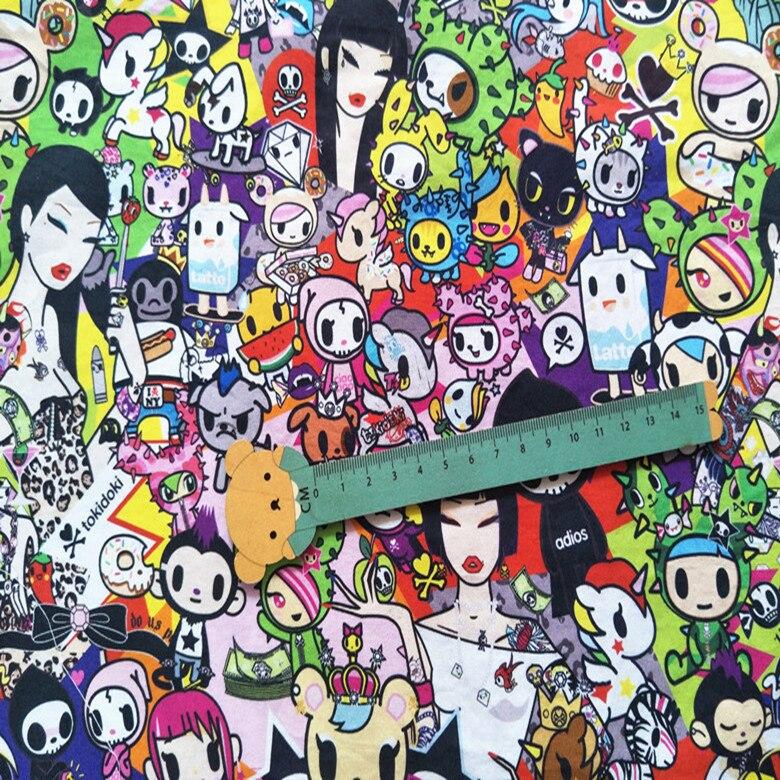 145cm de ancho japonesa de dibujos animados de unicornio de tela de algodón para ropa Hometextile cortina cojín DIY de coser