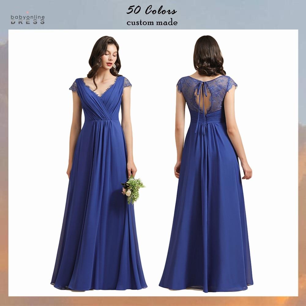 Babyonlinedress robe bleu Lace Long Evening Dress Chiffon Elegant V Neck Prom Party dress robes de soirée abendkleider недорого
