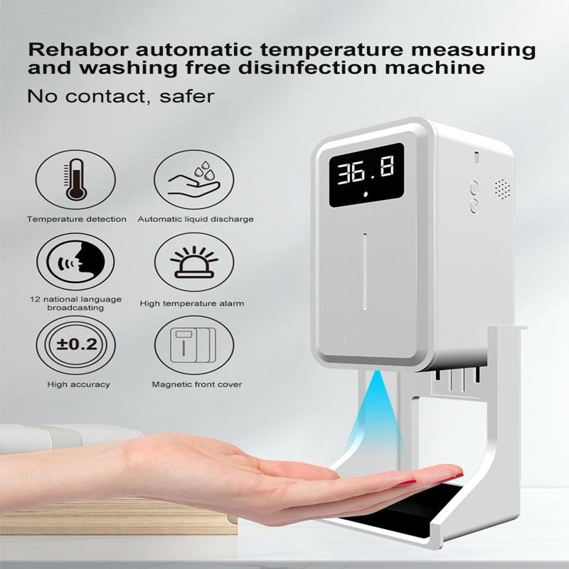 2021 موزع الصابون السائل من آلة متكاملة من الحث قياس درجة الحرارة التلقائي غسل اليد اكسسوارات المطبخ