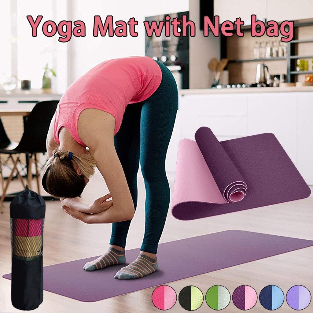 Коврик для йоги, нескользящий коврик для упражнений, Тренировочный Коврик для тренировок, с сумкой для переноски, для йоги, пилатеса, гимнас...