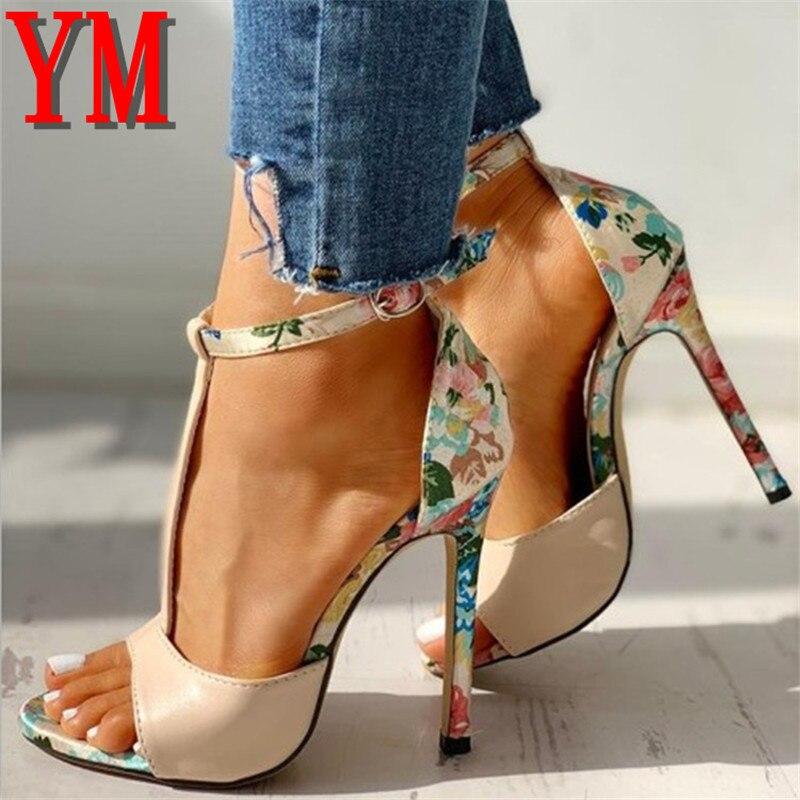 Zapatos De tacón De aguja con correa en T para Mujer, sandalias sexys y exquisitas De tacón superalto De 10cm, para verano, 2020