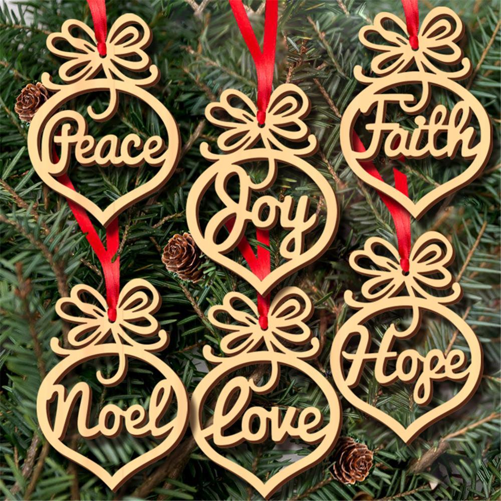 6 piezas feliz adornos navideños para el hogar ornamento hueco de madera árbol de Navidad colgante decoración de Navidad # WO