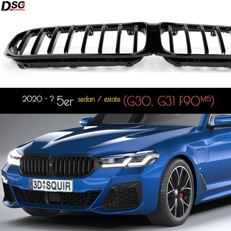 المصد الأمامي من البلاستيك ABS بلون أسود لامع مناسب لسيارات BMW 5 Series 2020 - 2022 G30 G31 F90 (M5) LCI