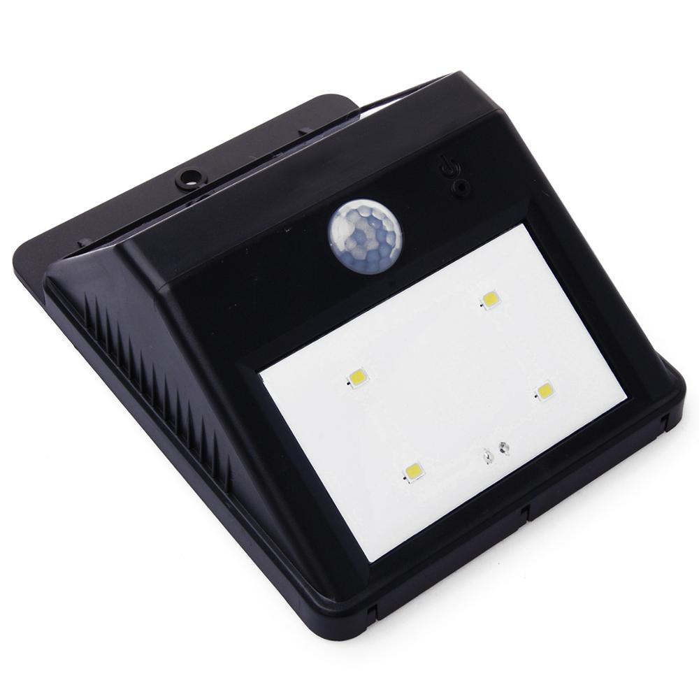 4-LED de energía Solar de seguridad de movimiento Sensor cuneta de luz de jardín al aire libre pared camino de vestíbulo lámpara de luz Solar