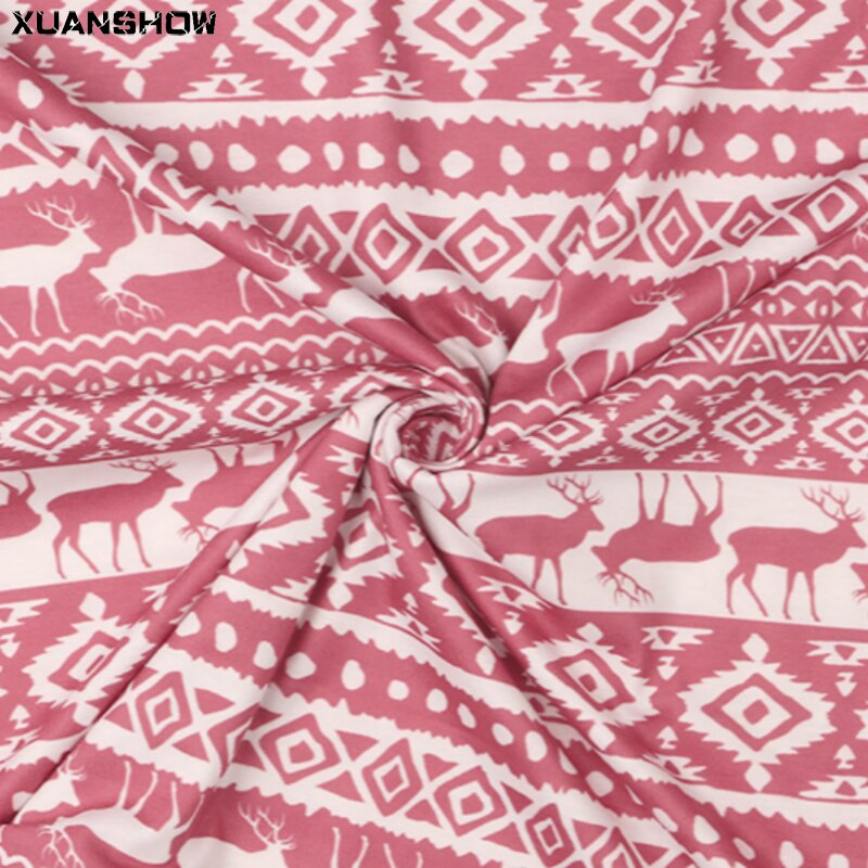 XUANSHOW Christmas Costumes 2020 Tracksuits Ladies Printed Loose Turtleneck Collar Sweatshirt+Long Pants Homewear Two Piece Set