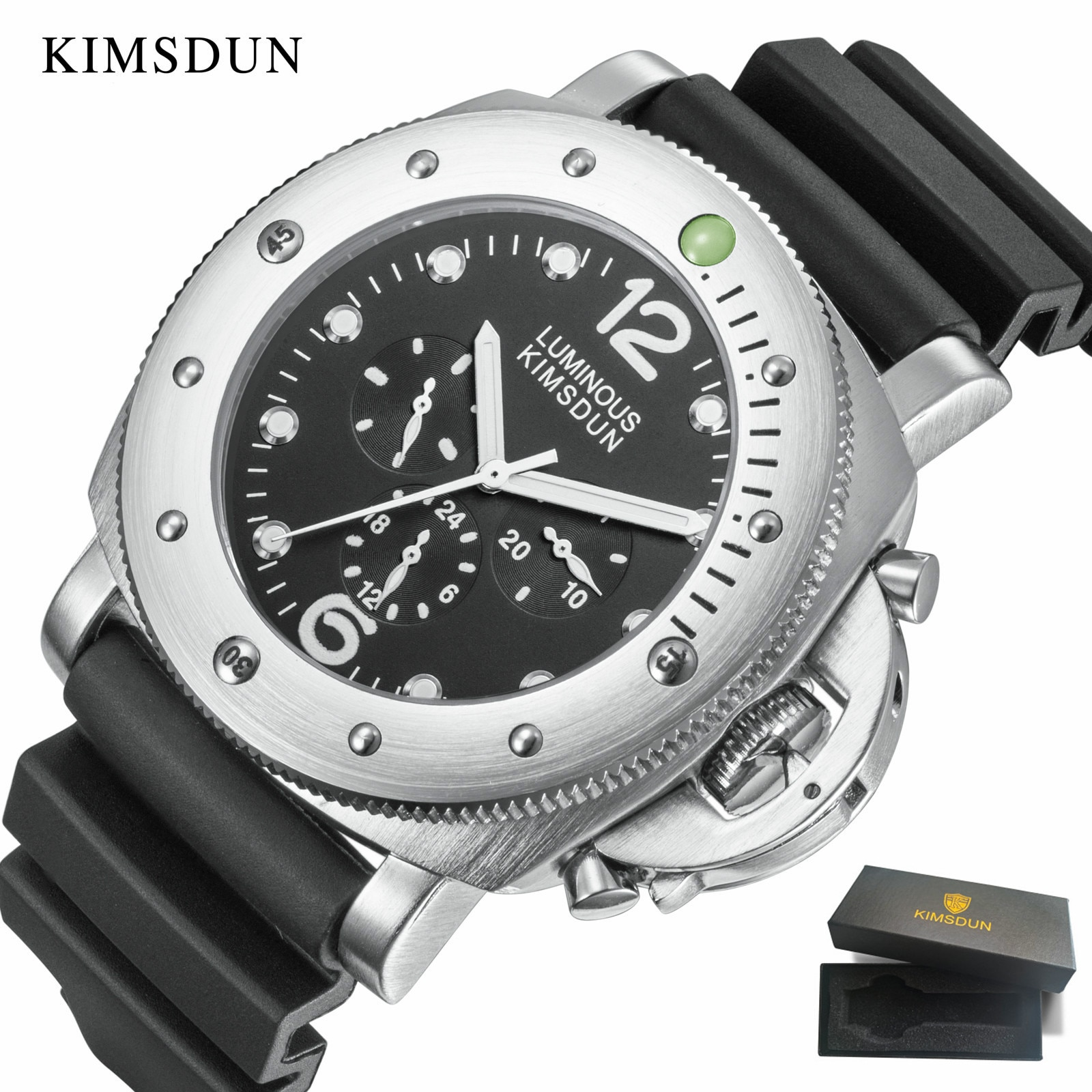 Relogio KIMSDUN العلامة التجارية الكلاسيكية الرجال الاتجاه الفاخرة عادية التلقائي الميكانيكية الرياضة موضة ساعة كبيرة سيليكون حزام العسكرية