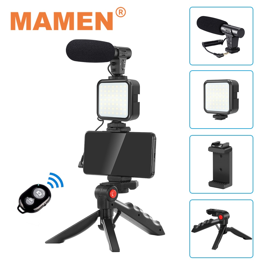 MAMEN Smartphone Vlogging Kit Video Recording Equipment With Tripod Fill Light Shutter For Camera Youtube Set Vlogger KIT