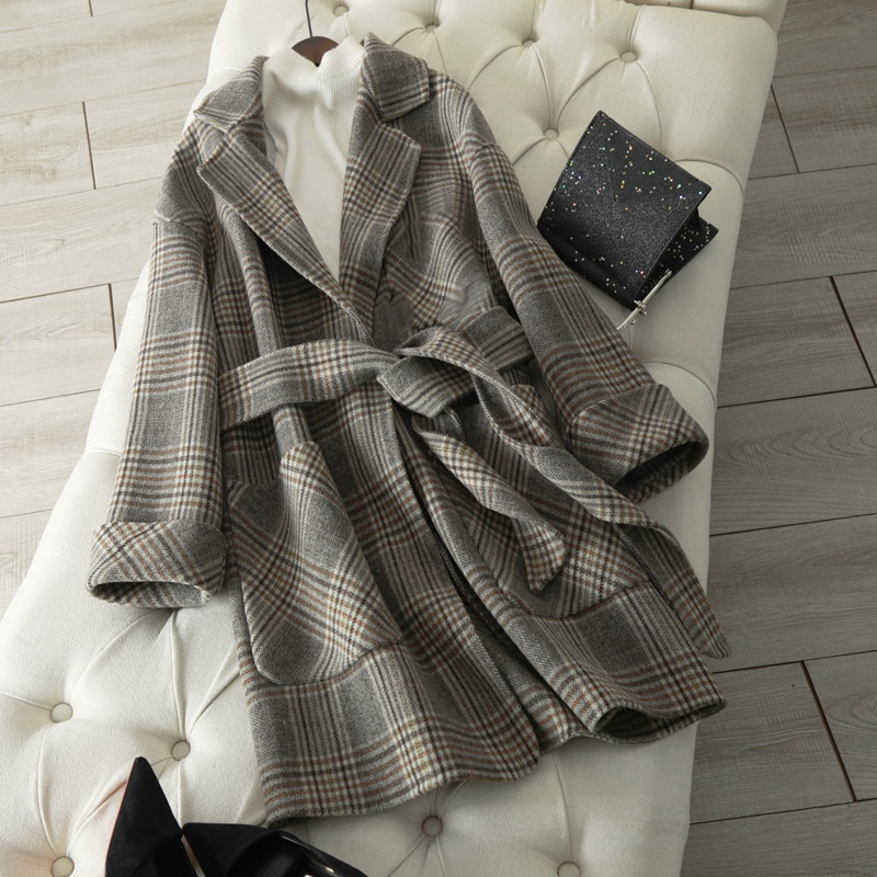 New winter autumn 2019 sashes cashmere coat female plover large medium long plaid woolen cloth coat show slim 100% wool coats