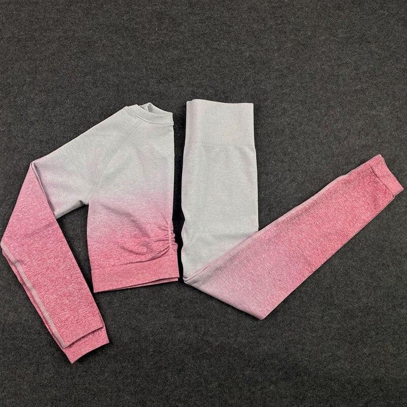 Aersem гимнастика Спорт Йога набор женская одежда для тренировок бесшовный укороченный Топ с длинным рукавом + штаны для поднятия бедер зимняя...