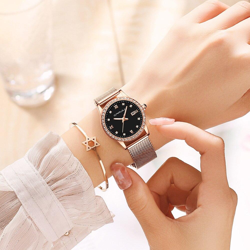 CRRJU Gold Watch Women Quartz Watches Lady Waterproof Wristwatch Womens Bracelet Female Clock Relogio Feminino Montre Femme enlarge