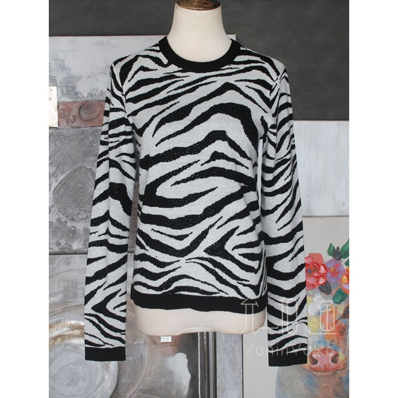 YUNINYOYO Domineering poster ~fashionable Zebra Print glitter stone low key shiny 100% wool women Autumn and winter  sweater enlarge