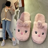 cute animal slippers for women furry fur slides indoor home slippers 2021 woman girls autumn winter fuzzy house slipper