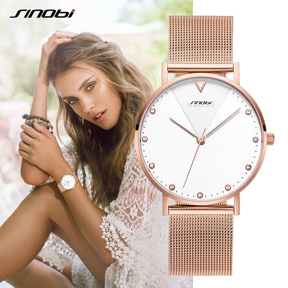 SINOBI Fashion Golden Women's Diamonds Wrist Watches Top Luxury Brand Ladies Geneva Quartz Clock Female Bracelet Wristwatch