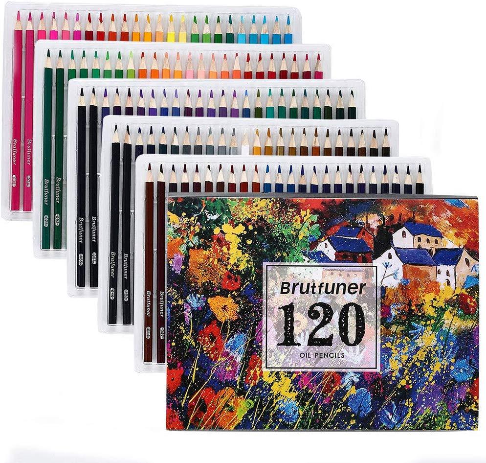 Juego de lápices de Color de aceite Brutfuner 48/72/120/160 colores profesional artista pintar bocetos lápiz para la escuela dibujar suministros de arte