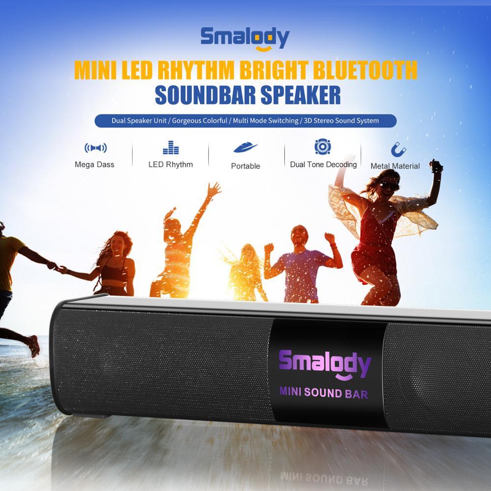 Altavoz Bluetooth brillante del ritmo del LED altavoz Dual de la barra de sonido 10W precioso Multi Modo de conmutación 3D altavoces estéreo AUX TF