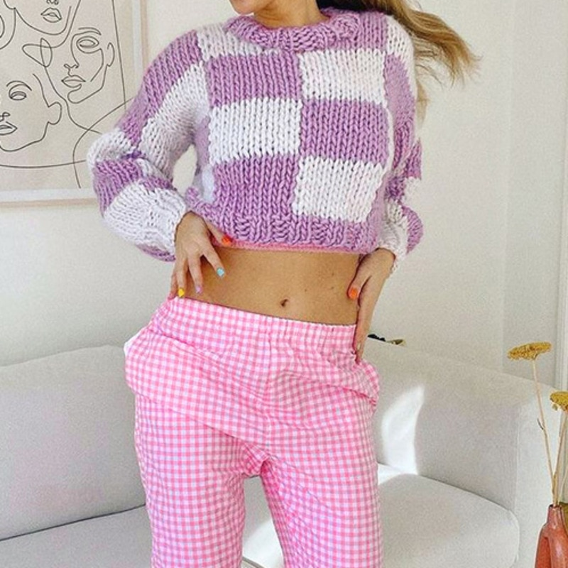 aelorxin 2017 women sweaters and pullovers thick autumn winter casual full sleeve o neck fashion women sweater girls sweaters Autumn Purple Fashion Women Sweater Long Sleeve O Neck Loose Plaid Patchwork Sweaters 2021 Casual Soft Warm Winter Sweaters
