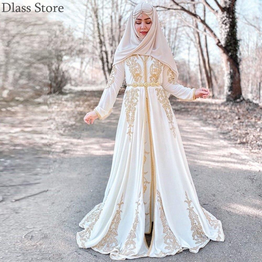 2020 nova Branco Muçulmano Vestido de Noite Apliques de Ouro Mulheres Desgaste Caftan Marroquino Vestido robe de soirée Luxo Mangas Compridas A-line