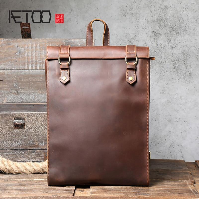 AETOO-حقيبة ظهر جلدية كريزي هورس بسيطة ، حقيبة مدرسية جلدية شخصية ، حقيبة كمبيوتر جلدية ريترو للرجال