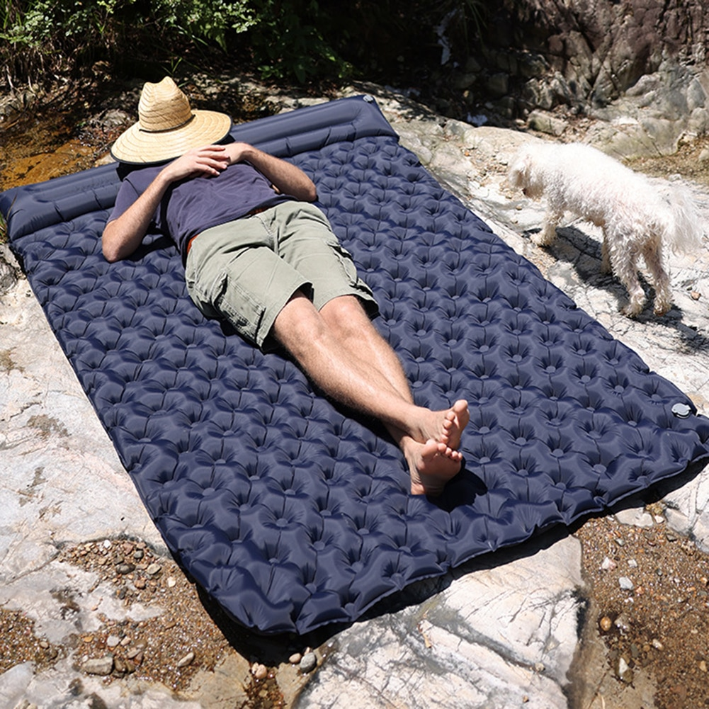 Air Mattress Inflatable Waterproof Portable Outdoor Camping Cushion Storage Bag Double Sleeping Bed Travel Mat
