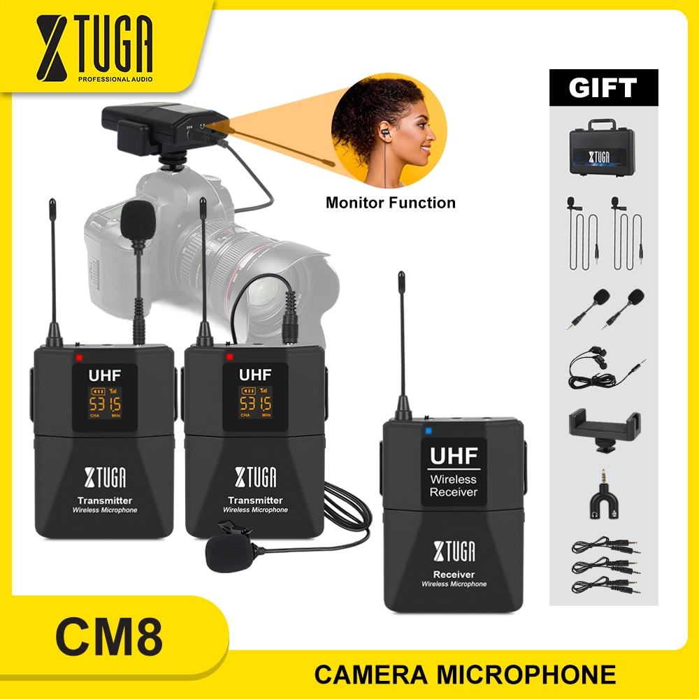XTUGA Wireless Lavalier Microphone with Audio Monitor Function Camera Mic UHF Wireless Lapel Mic for Smartphones DSLR Cameras xtuga wireless lavalier microphone professional uhf camera microphone with 30 selectable channels for slr camera dv camcorder