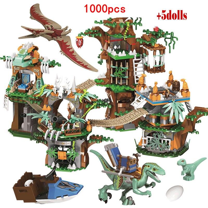 2 sets jurassic world tyrannosaurus building blocks jurrassic dinosaur figures bricks qunlong zoo toy for kids XQYJ 1000pcs Jurassic World Dinosaur Tree House Building Blocks Jurassic World Park Figures Bricks sets Toys For Children gifts