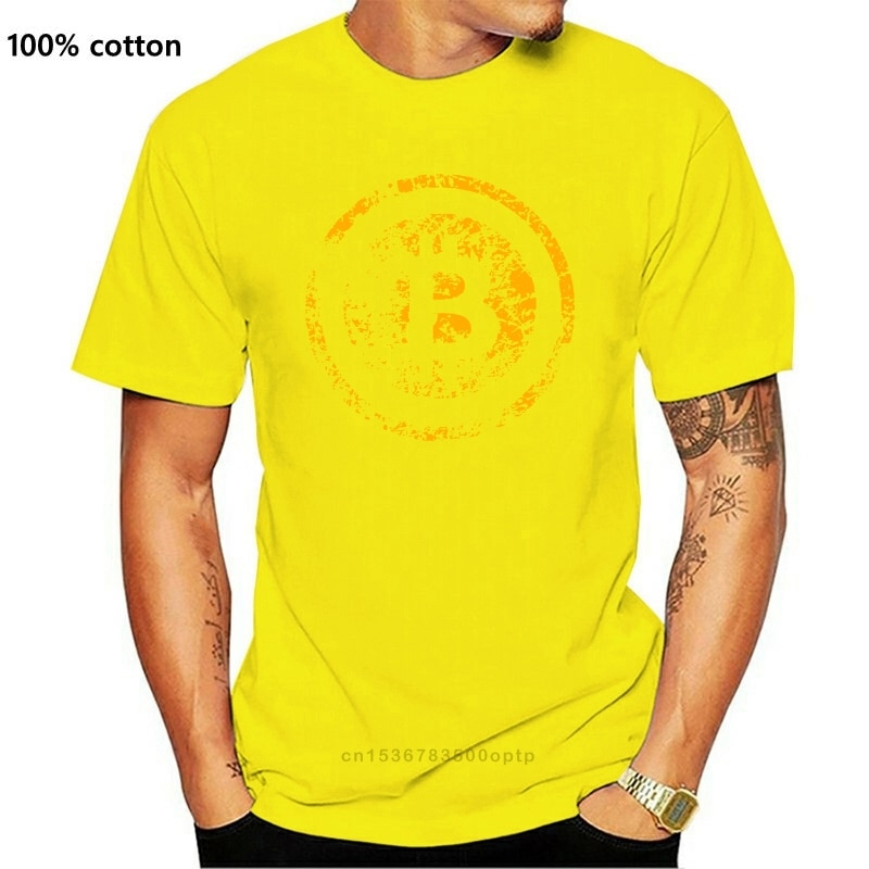 New T Shirts Vintage BTC Crypto Currency Bitcoin T-Shirt Men's O-Neck Short Sleeved Tees Designer Men's Funny Design 100% Cotton