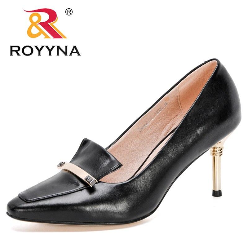ROYYNA-Zapatos de tacón de Metal para mujer, calzado con punta puntiaguda, Boda,...