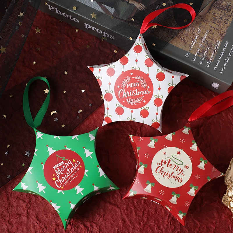 1Pc Five-pointed Star Christmas Gift Boxes for Candy Biscuit Biscuit Nougat Chocolate Packaging Box Handbag Festival Gift Bag