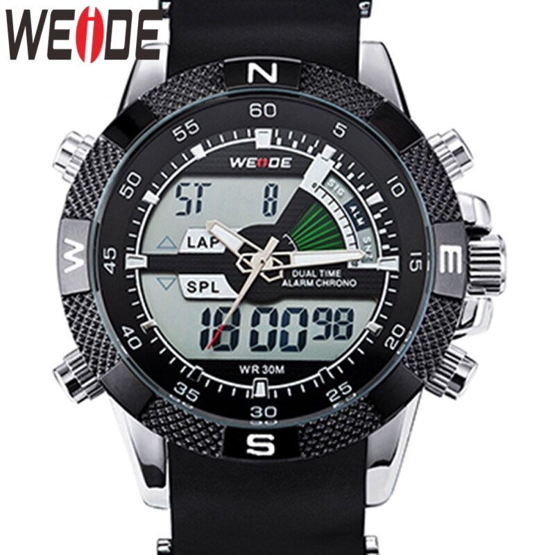 WEIDE Watch Men Luxury Brand Fashion Sports Watches Quartz Analog LED Clock Male Military Wrist Watch Relogio Masculino Watch super large dial watch men luxury brand two time zone military sports watch quartz clock time steel belt lelogio masculino