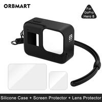 Силиконовый чехол для GoPro Hero 8, черное закаленное стекло, защита экрана, защитная пленка для объектива, чехол для GoPro 8, аксессуары