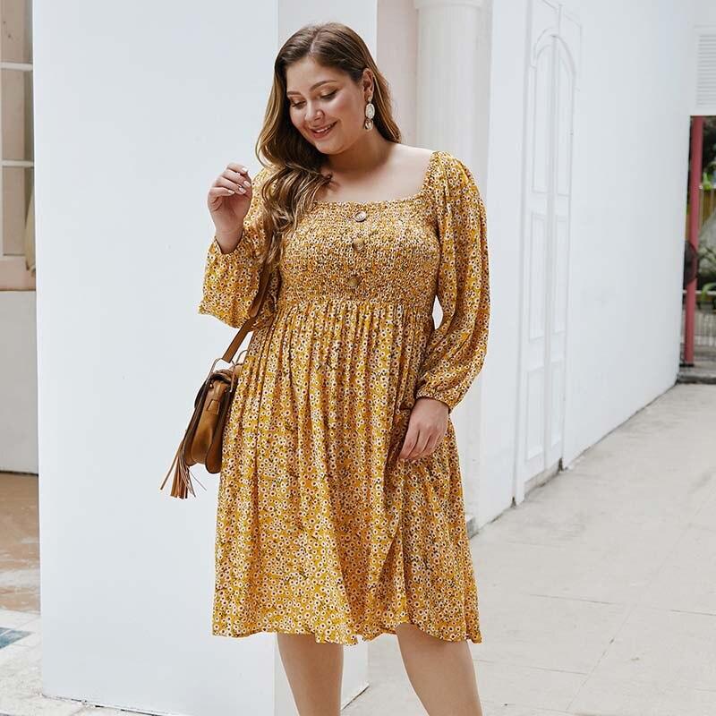 Vestido de talla grande de mujer, vestido Floral de primavera 2020, Sexy de vestido de fiesta y manga larga talla grande con escote, vestidos de flores para mujer 4XL