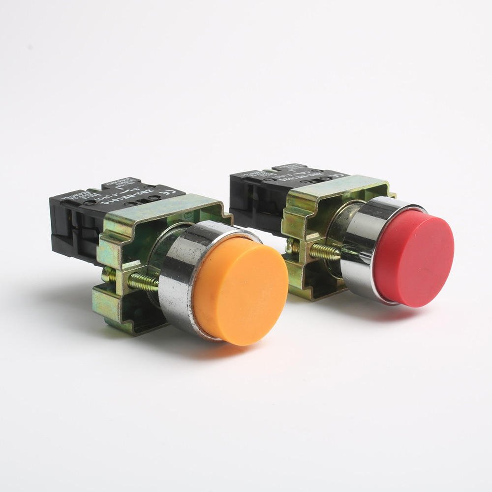 22mm self reset push button switch xb2 ba35c zb2 ba45c flat momentary electric screws red yellow green 1no 1nc Momentary self-Reset XB2-BL31 BL42 BL51 1NO/1NC Single button XB2-BL8425 1NO1NC Double push button switch