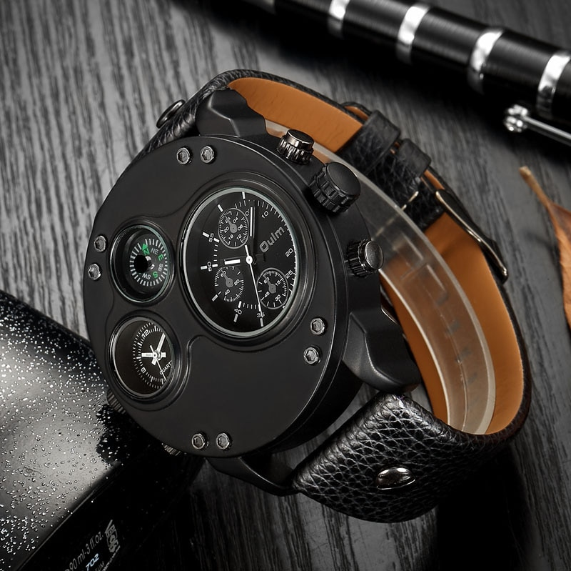 Relógio de Quartzo Pulseira de Couro Masculino Bússola Duplo Fuso Horário Grande Dial Luminosa Metal Pino Fivela Personalidade Moda