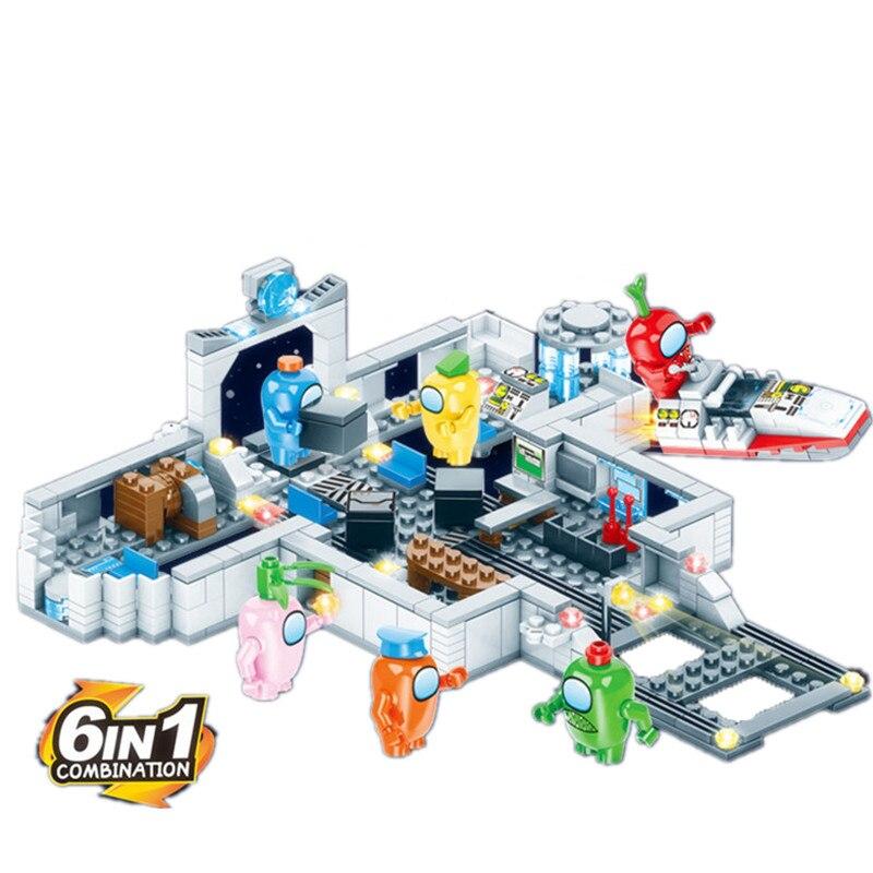 NEW Amonged Us Space Alien Figures Peluche Game Model Building Blocks Kit Bricks Classic Sets Kids Toys For Children Gift