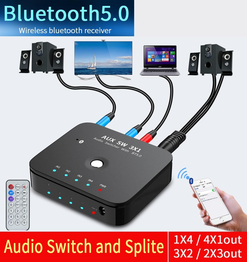 HIFI 4-port 3.5 مللي متر ستيريو AUX الجلاد 3 في 1OUT اللاسلكية الموسيقى بلوتوث 5.0 استقبال بلوتوث محول الصوت