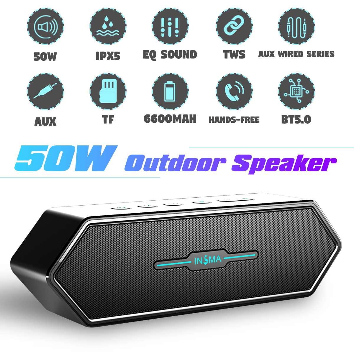 INSMA Aurora Bluetooth 5.0 E-sport Gaming Speaker 50W 6600mah Portable Speaker Enhanced Bass TWS Column IPX5 Waterproof Soundbar