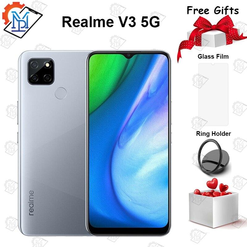 Перейти на Алиэкспресс и купить Оригинальный Realme v3 5G мобильный телефон 6,5 дюймов 6G Оперативная память 128G Встроенная память MediaTek 720 Восьмиядерный Android 10 5000 мА/ч, Батарея 18 Вт с...