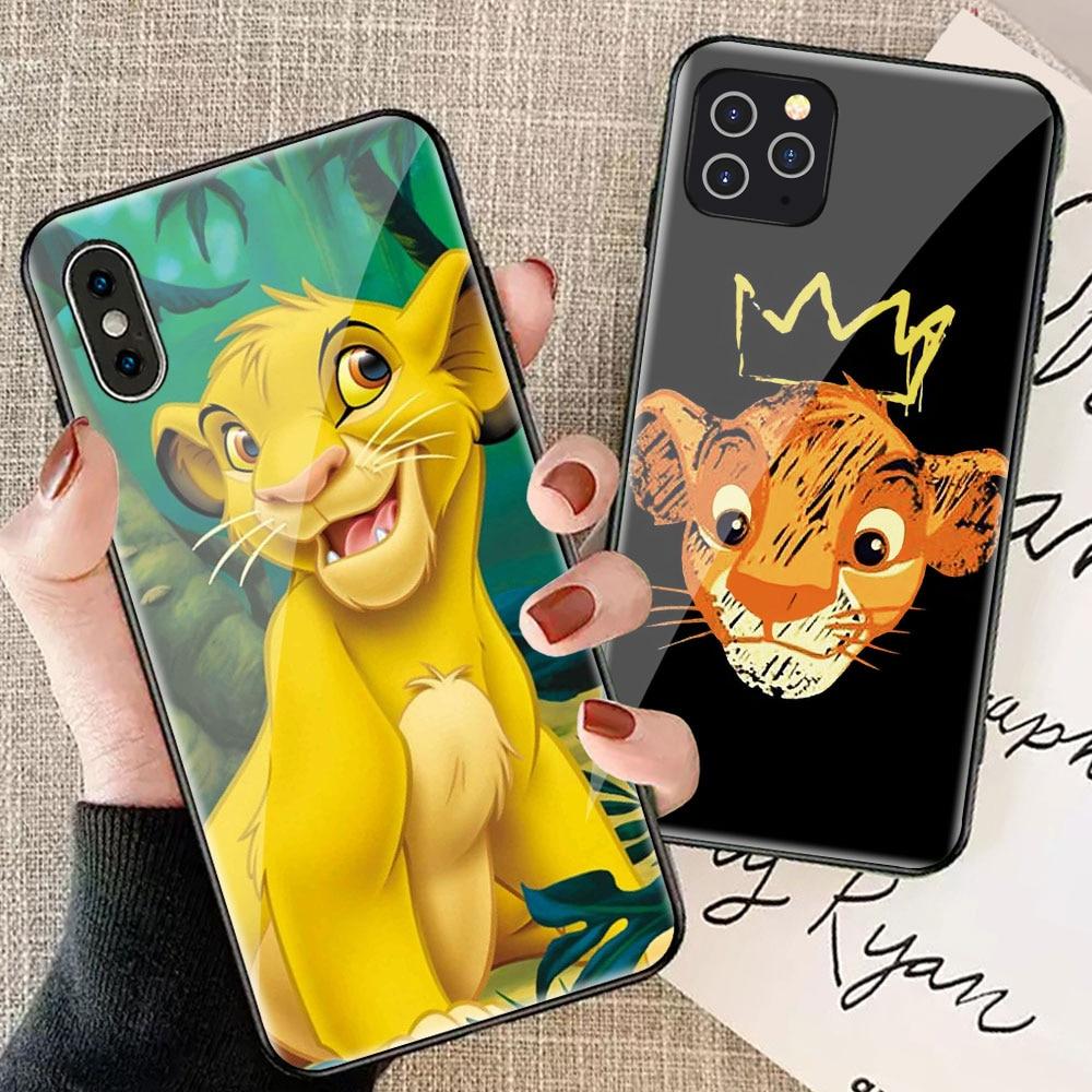 Funda de cristal duro Rey León para iphone xr x xs max 8 plus 7 7plus 8 plus 6 6s 11 pro max coque iphone 7 funda de dibujos animados a prueba de golpes