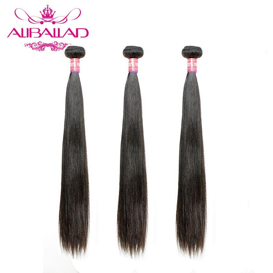 Aliballad бразильские прямые волосы, 3 пряди, 100% человеческие волосы, наращивание волос Remy, 8-26 дюймов, натуральный цвет, плетение