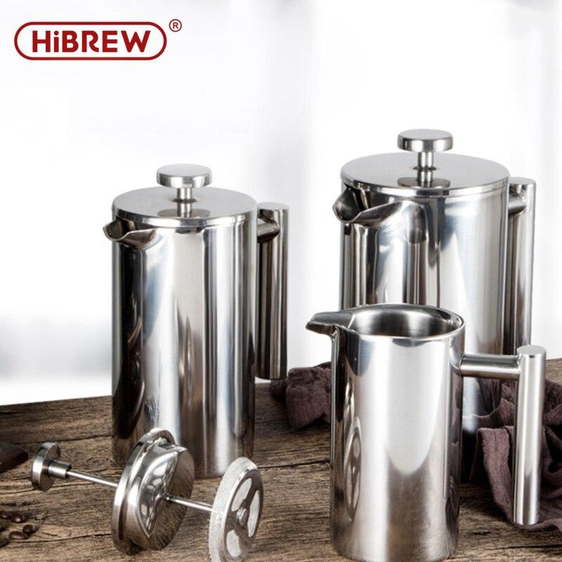 HiBREW cafetera a presión francesa de café de acero inoxidable olla del percolador Manual colador de uso doméstico de café