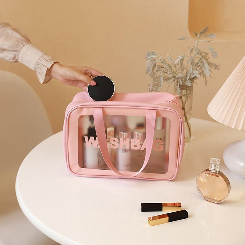 Style D PU+Frosted Translucent Cool Summer Wash Bag Makeup Bag Cosmetic Bags for Women Pouch Organiz