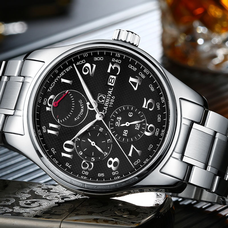 سويسرا كرنفال العلامة التجارية الفاخرة الرجال الساعات استيراد الميكانيكية ساعة الرجال متعددة الوظائف تخزين الطاقة hombre relogio C-H689AG-2