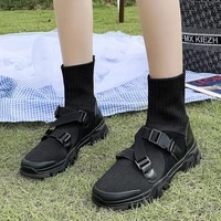 stretch cloth womens mid tube boots light and breathable mid heel short boots thick soled increased casual shoes sports shoes