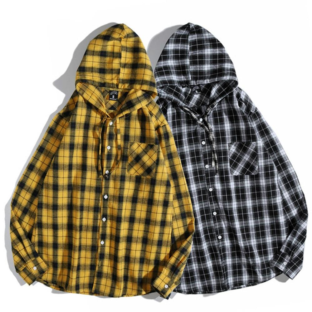 Spring Autumn Cotton Black Yellow Plaid Hoodie Shirt Fashion Long Sleeve New Men Women Street Casual MCL247