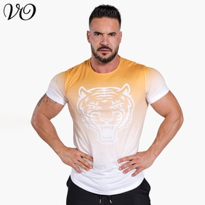 Fitness clothes coach sports T-shirt muscle tights men's high elastic training clothes short sleeve fitness clothes men's