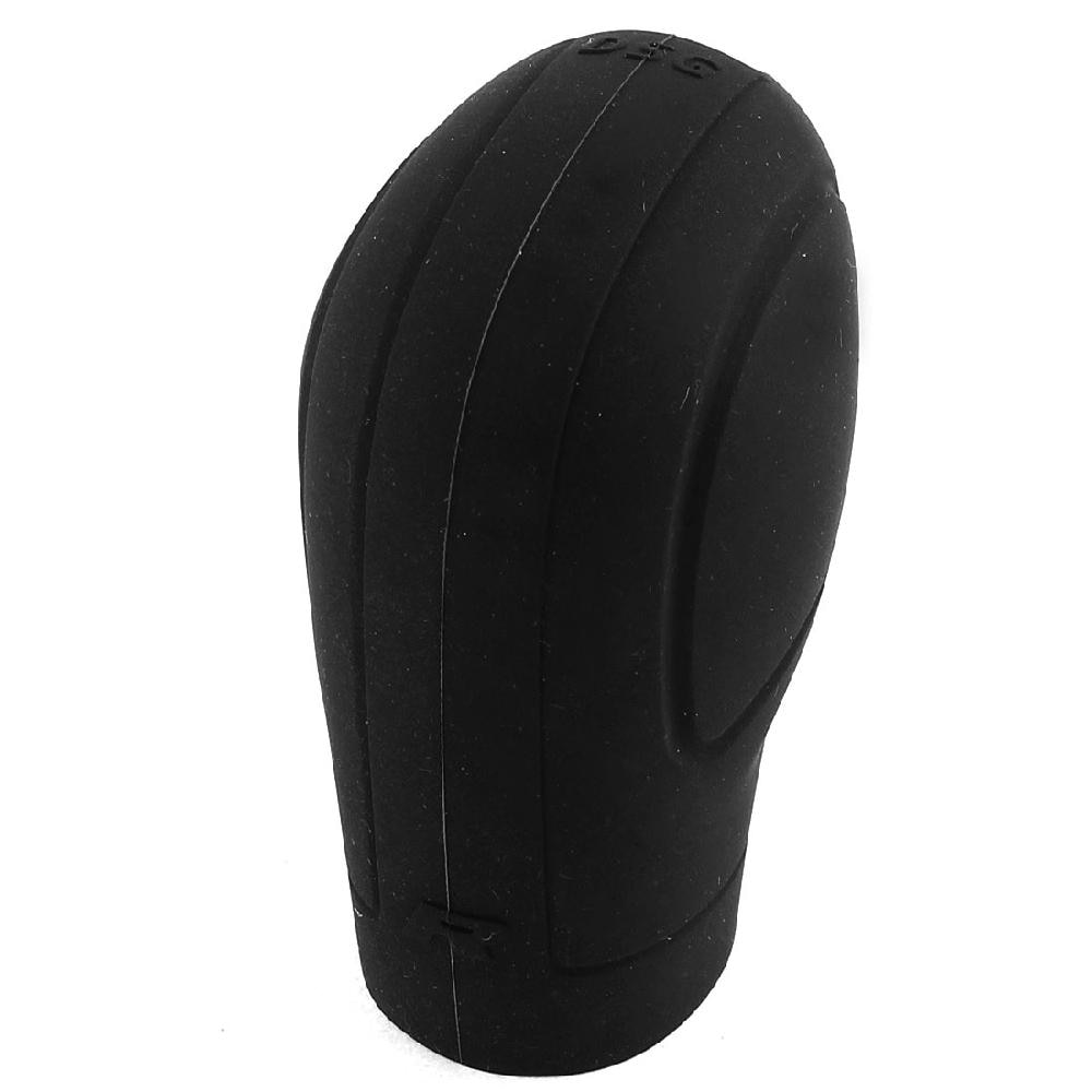 Silicone macio antiderrapante botão de mudança de carro engrenagem vara capa protetor com trepanning design-preto