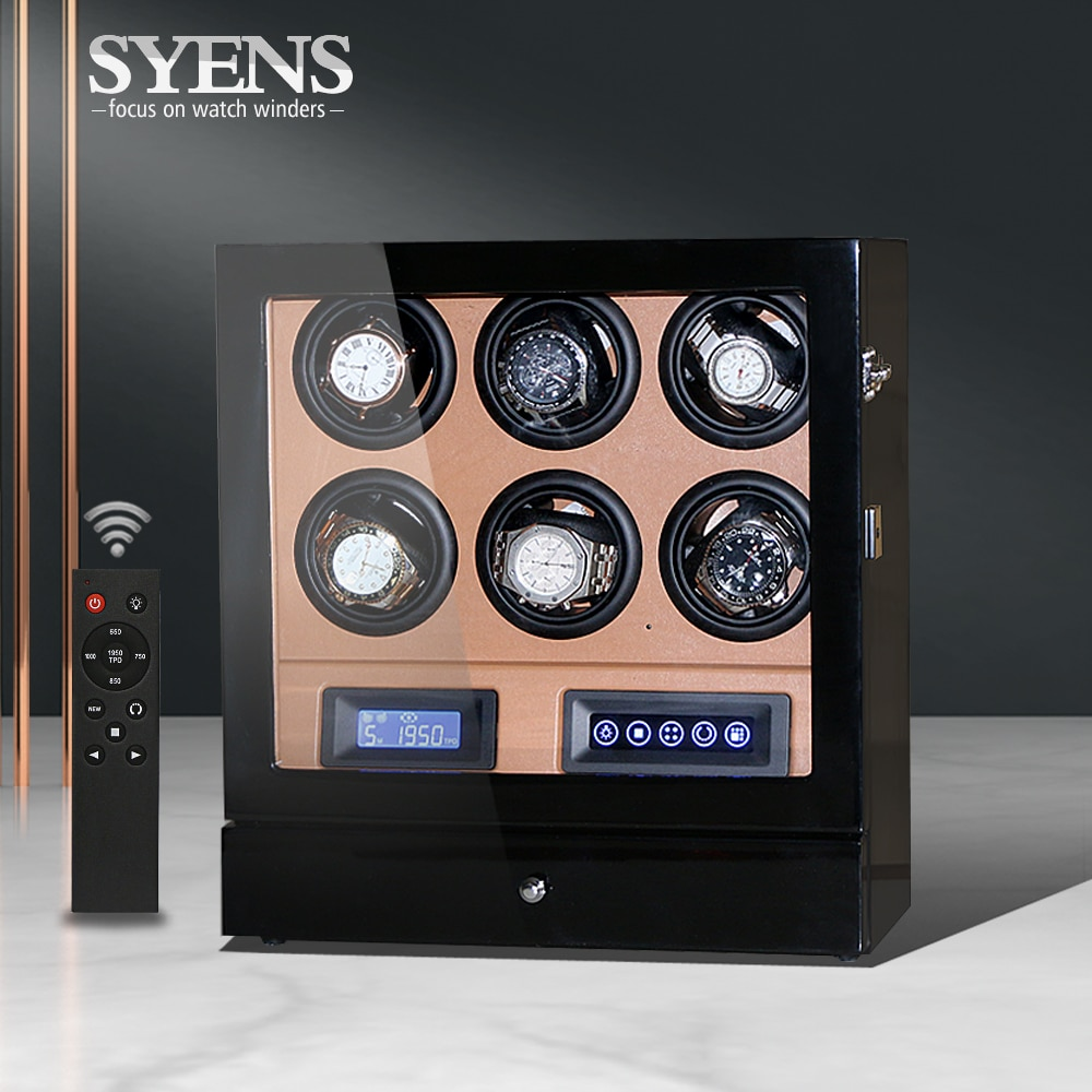 Watch winder rotation 6 automatic watch winding box with LCD control and TPD mode watchwinder Made by Black gloss w Brown PU