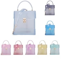 2021 summer square chain women transparent jelly bags clear purse handbag