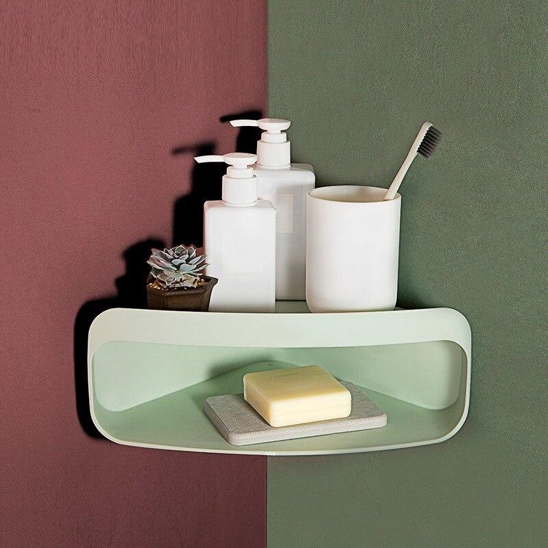 Estante de baño Qrganizer Snap Up esquina estante Caddy baño plástico esquina estante duchas almacenamiento champú titular de la pared